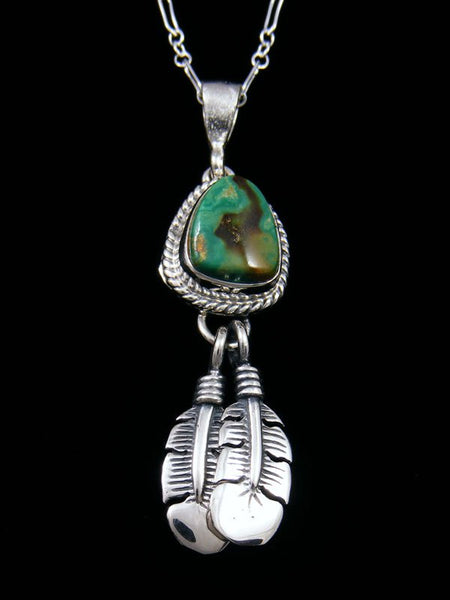 Native American Indian Jewelry Boulder Turquoise Feather Pendant