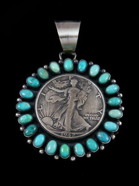 Native American Sterling Silver Turquoise Liberty Coin Pendant