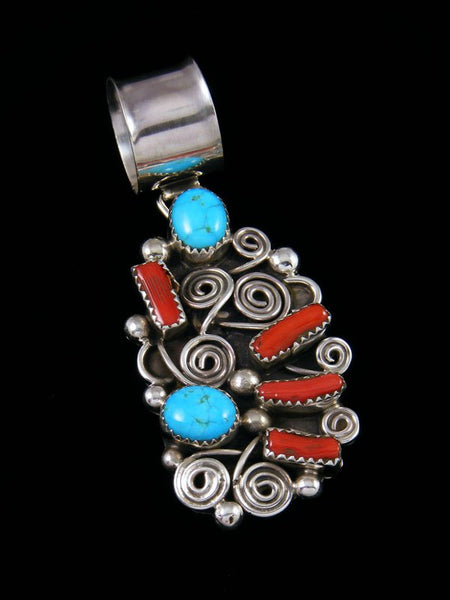 Navajo Necklace Turquoise and Coral Pendant