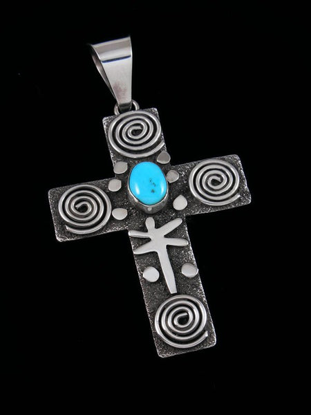 Large Navajo Sterling Silver and Turquoise Petroglyph Cross Pendant