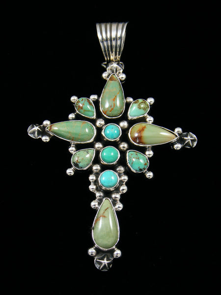 Native American Indian Kingman Turquoise Cross Pendant