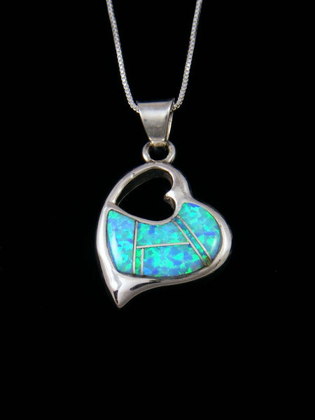 Navajo Sterling Silver Opalite Inlay Heart Pendant