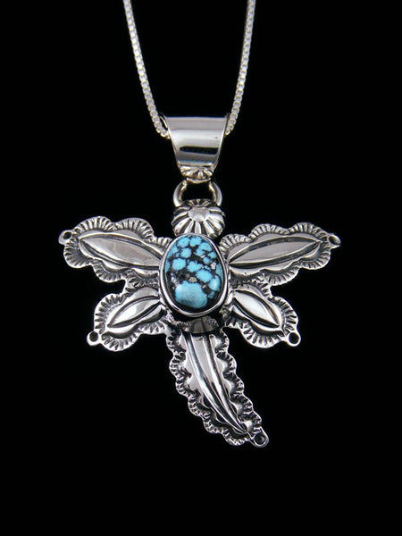 Native American Kingman Blackweb Turquoise Sterling Silver Dragonfly Pendant
