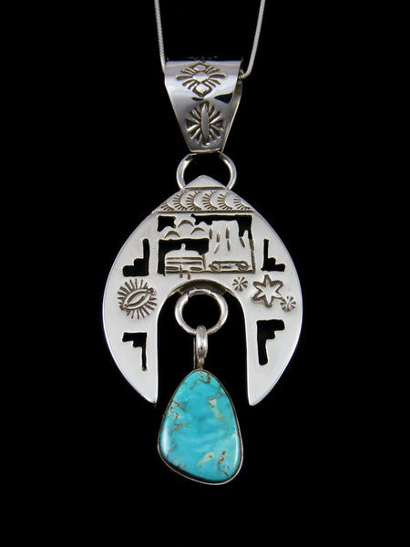 Navajo Royston Turquoise Shadowbox Sterling Silver Pendant