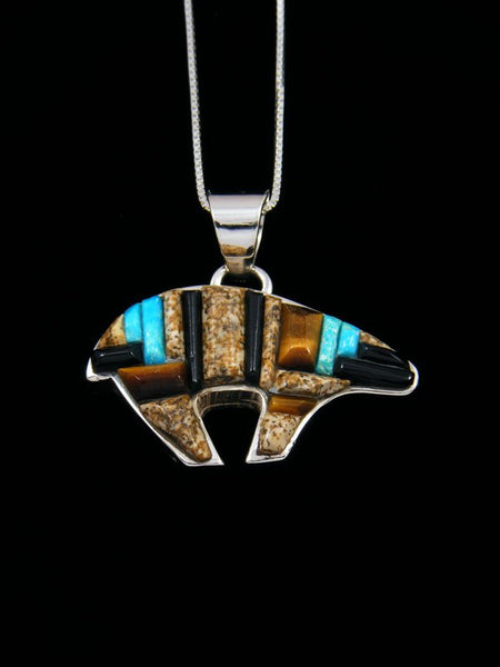 Jasper and Turquoise Inlay Reversible Bear Pendant