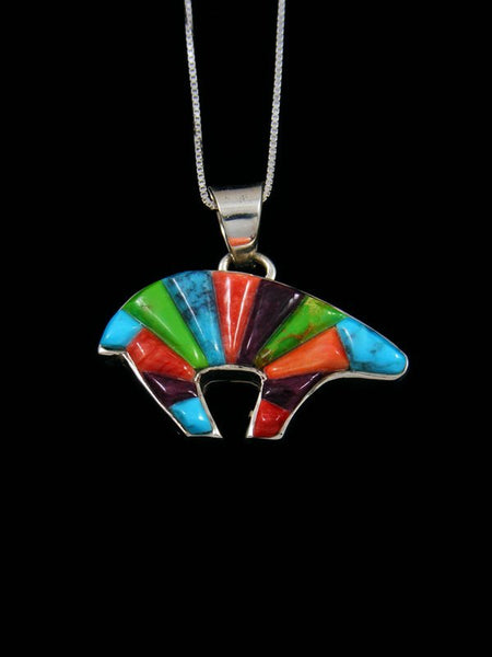 Navajo Inlay Spiny Oyster and Turquoise Medicine Bear Pendant