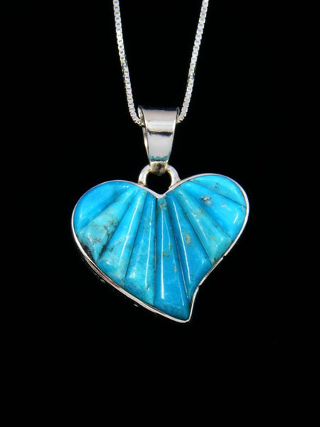 Navajo Cobblestone Inlay Turquoise Sterling Silver Reversible Heart Pendant