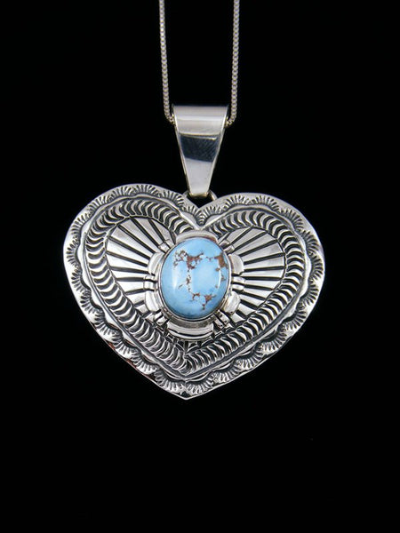 Native American Golden Hill Turquoise Sterling Silver Heart Pendant
