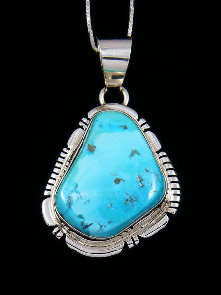 Native American Sleeping Beauty Turquoise Sterling Silver Pendant