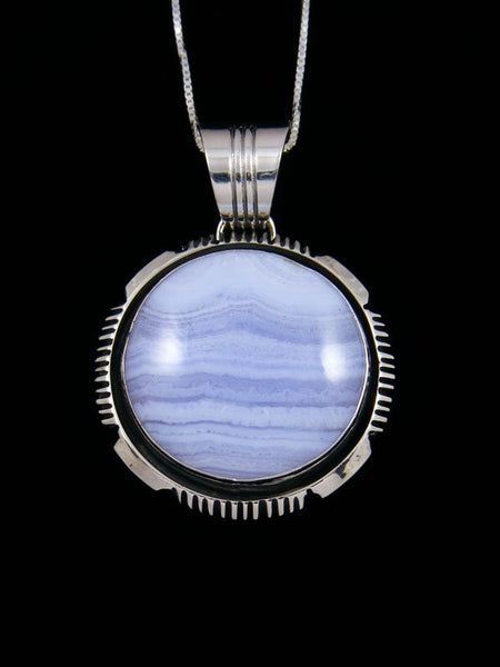 Native American Blue Lace Agate Sterling Silver Pendant