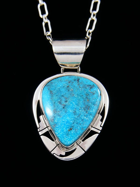 Kingman Turquoise Native American Sterling Silver Pendant