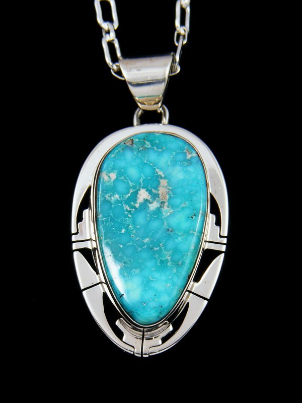 White Water Turquoise Navajo Sterling Silver Pendant
