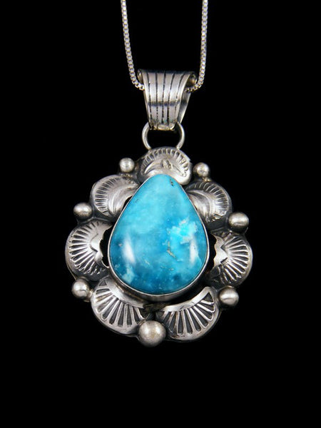 Native American Indian Jewelry Kingman Turquoise Pendant