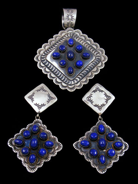 Native American Sterling Silver Lapis Earrings and Pendant Set