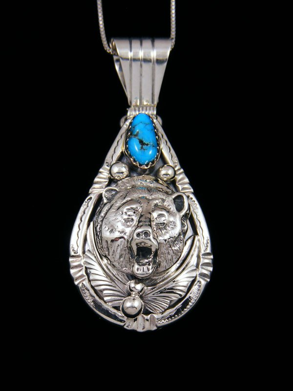 Navajo Indian Sterling Silver 3D Turquoise Bear Pendant