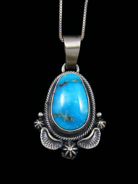 Native American Sterling Silver Sonoran Rose Turquoise Pendant