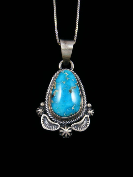 Native American Sterling Silver Kingman Turquoise Pendant