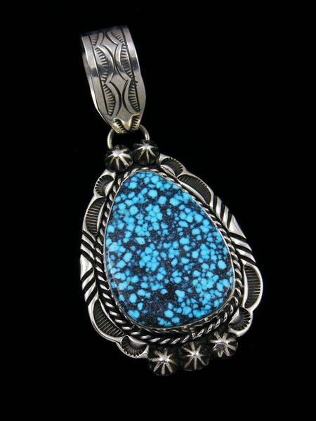 Native American Indian Jewelry Kingman Spiderweb Turquoise Pendant