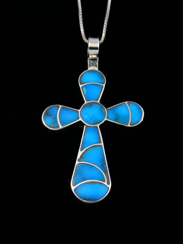 Native American Sterling Silver Zuni Turquoise Inlay Cross Pendant