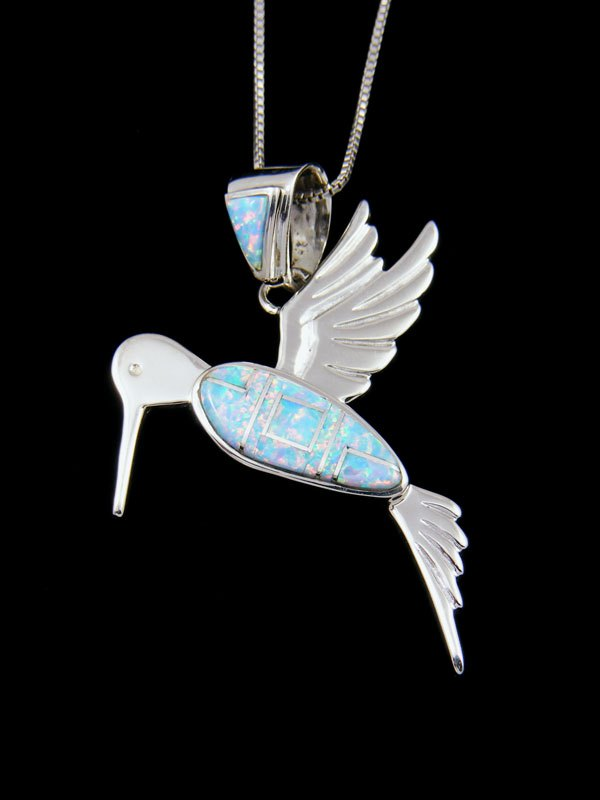 Native American Opalite Hummingbird Inlay Pendant