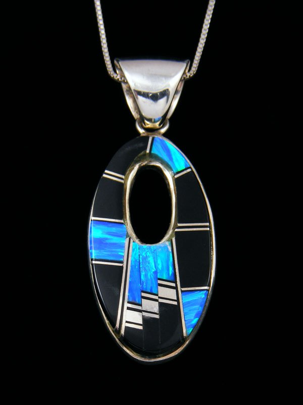 Native American Opalite and Onyx Inlay Pendant