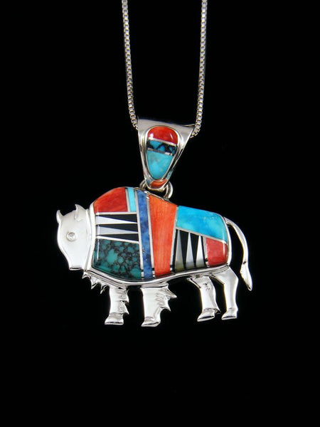 Native American Turquoise and Spiny Oyster Inlay Buffalo Pendant
