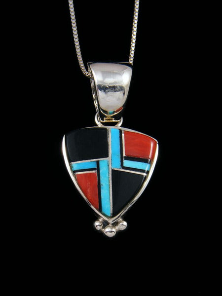 Native American Turquoise and Onyx Inlay Pendant