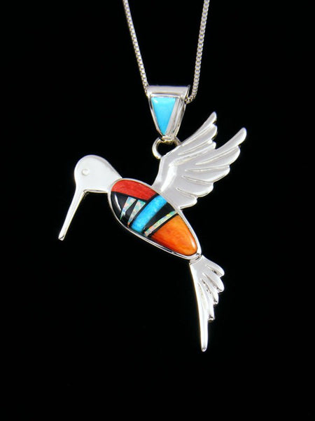 Native American Spiny Oyster Hummingbird Inlay Pendant