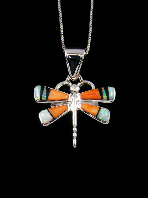 Native American Spiny Oyster Dragonfly Inlay Pendant