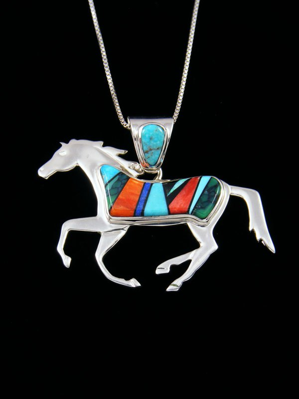Native American Spiny Oyster Horse Inlay Pendant