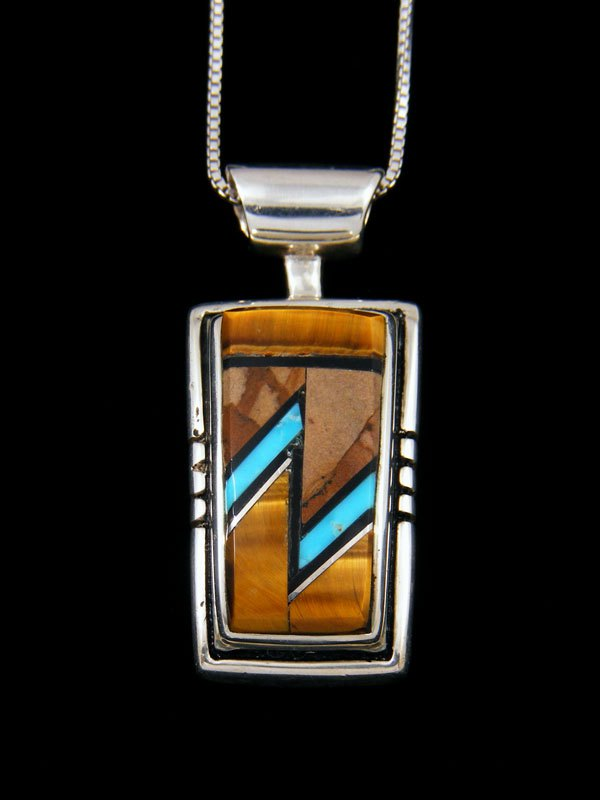 Native American Onyx and Tiger Eye Inlay Pendant