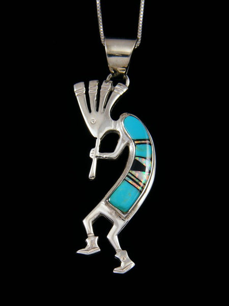 Native American Turquoise Kokopelli Inlay Pendant