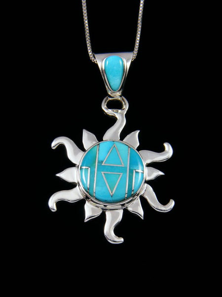 Native American Turquoise Inlay Sun Pendant