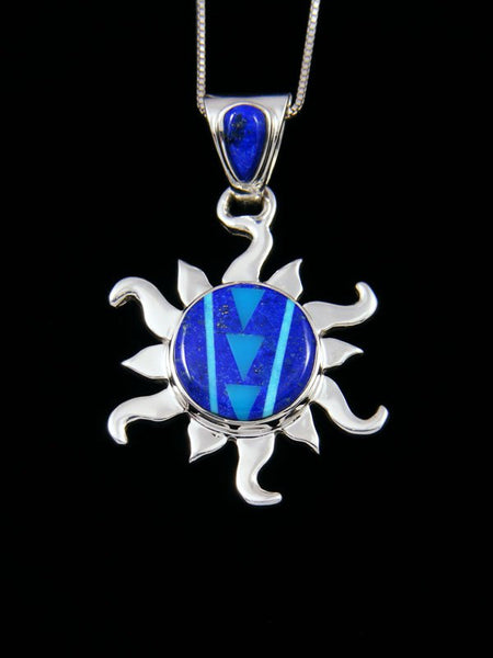 Native American Lapis and Turquoise Inlay Sun Pendant