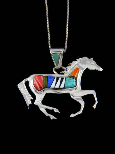 Native American Turquoise and Spiny Oyster Inlay Horse Pendant