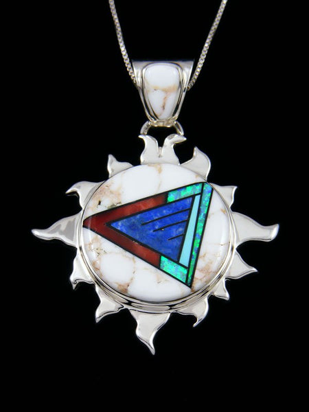 Navajo Inlay Wild Horse and Lapis Sun Pendant
