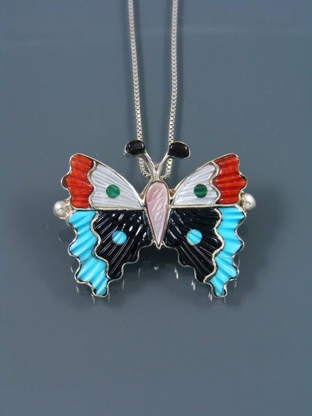 Native American Zuni Inlay Mother of Pearl Butterfly Pin Pendant