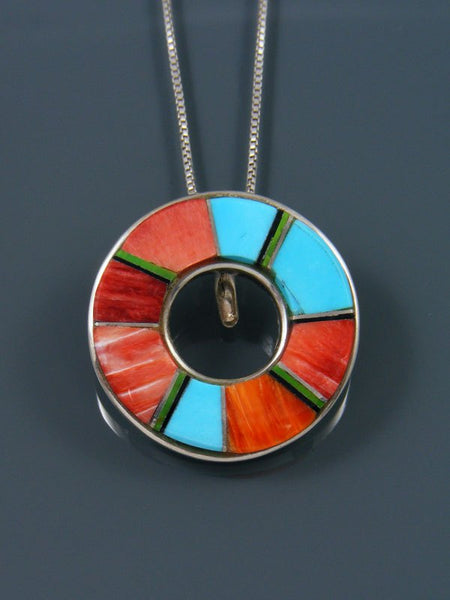 Native American Turquoise and Spiny Oyster Inlay Pendant