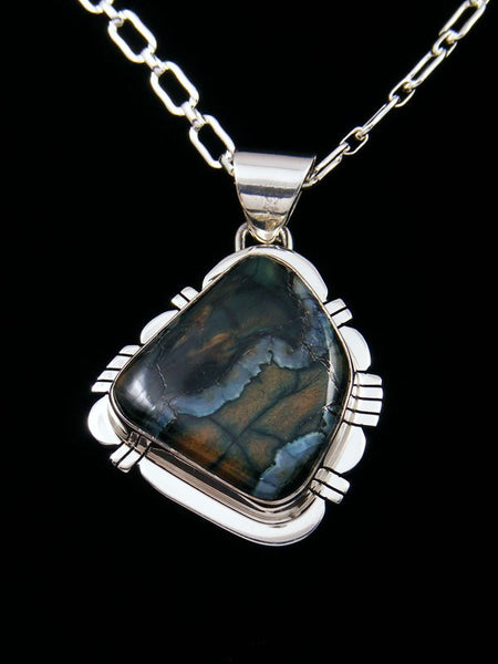 Fossilized Mammoth Tooth Navajo Sterling Silver Pendant