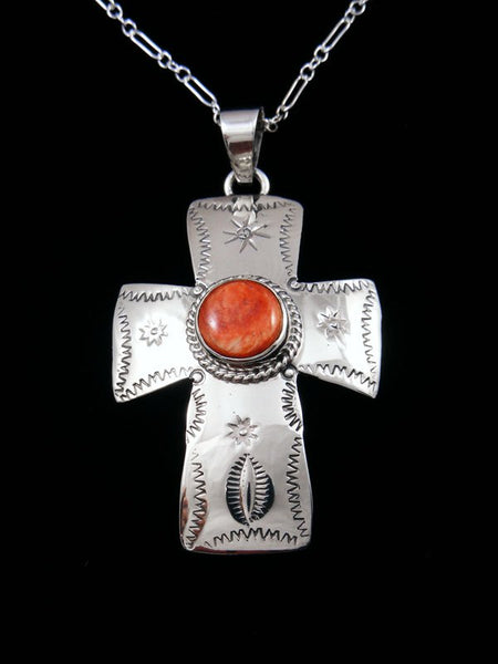 Native American Indian Jewelry Spiny Oyster Cross Pendant
