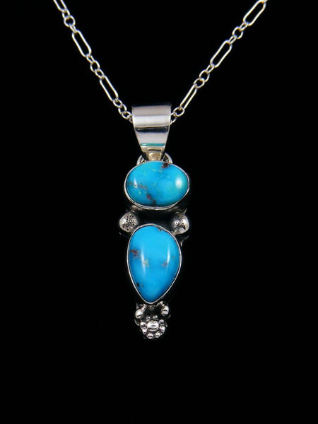 Native American Sterling Silver Sonoran Turquoise Pendant