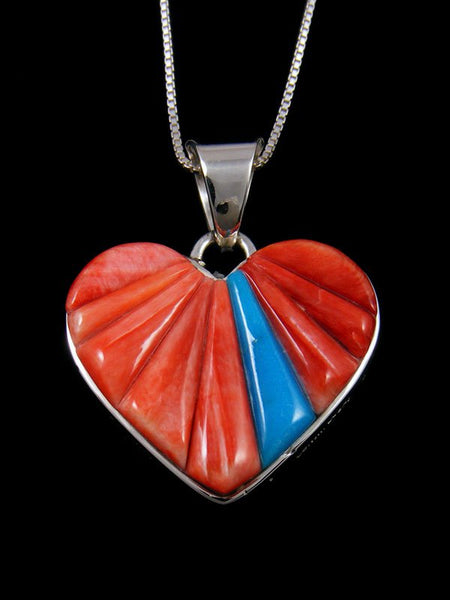 Navajo Reversible Spiny Oyster and Turquoise Inlay Heart Pendant