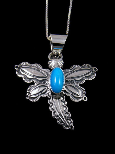 Native American Sleeping Beauty Turquoise Sterling Silver Dragonfly Pendant