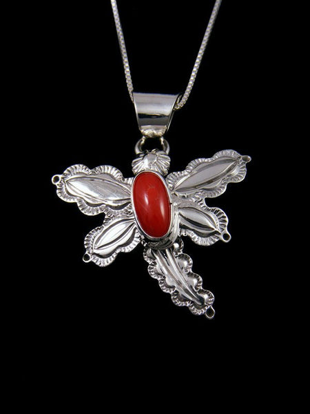 Native American Deep Red Coral Sterling Silver Dragonfly Pendant