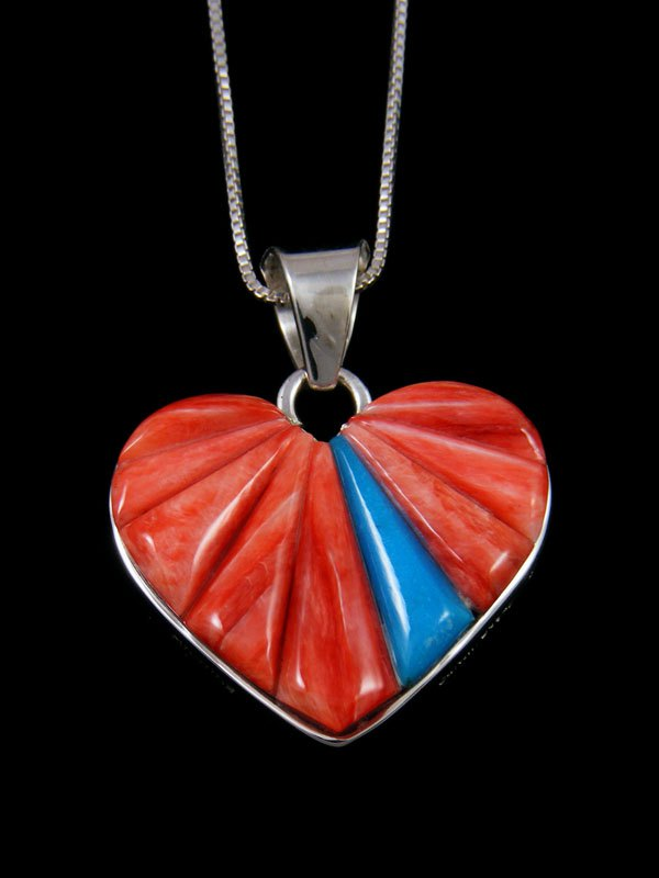 Spiny Oyster and Turquoise Reversible Heart Inlay Pendant