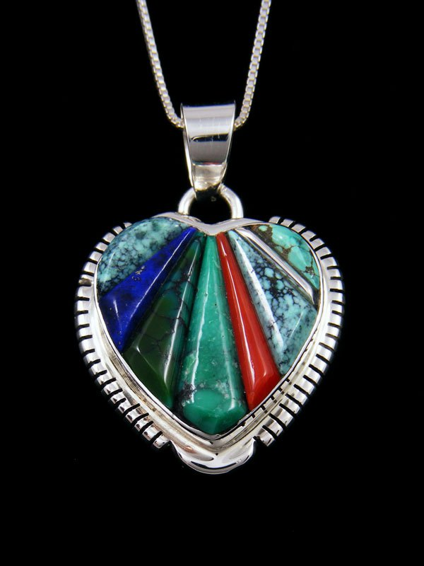 Native American Turquoise and Coral Heart Inlay Pendant