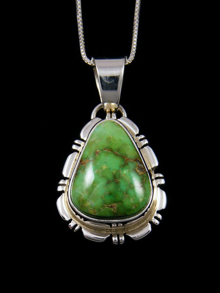 Sonoran Gold Turquoise Navajo Sterling Silver Pendant