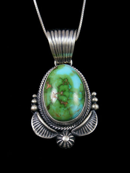 Native American Sterling Silver Sonoran Gold Turquoise Pendant