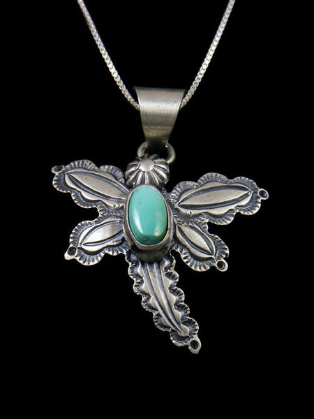Native American Turquoise Sterling Silver Dragonfly Pendant