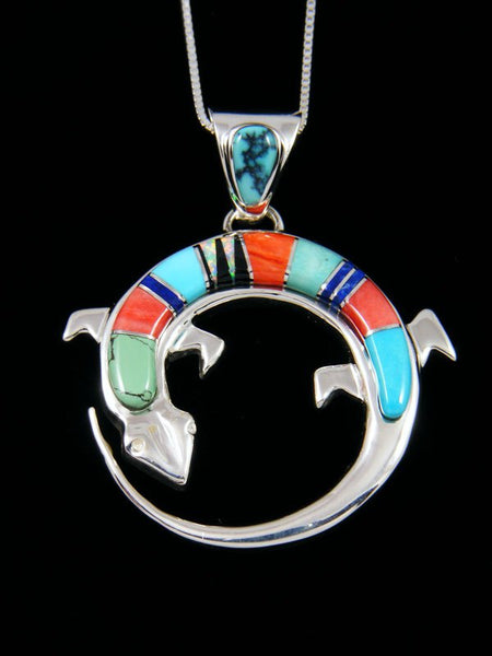 Native American Spiny Oyster Gecko Inlay Pendant
